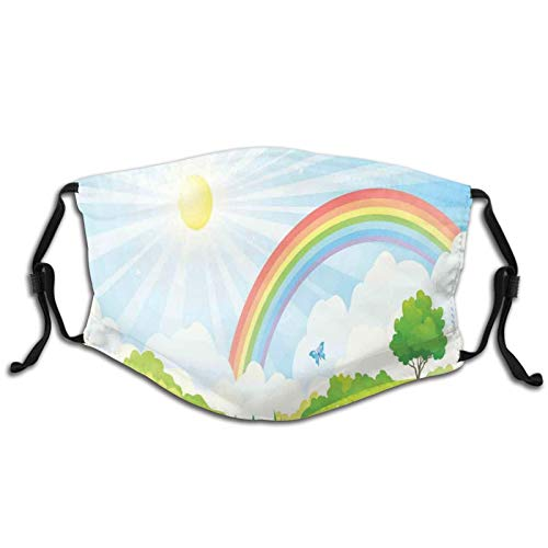 FULIYA Washable Reusable Mouth Cover Fashion Pattern Print Adult Breathable Bandanas With Filter,Nature With Sun And Rainbow