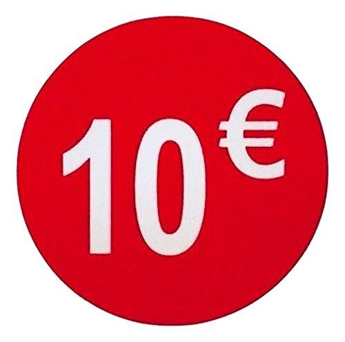 Pegatina 10 € Euro, Pack de 1000, adhesivo 35 mm Rojo, etiqueta precio (Price stickers), DiiliHiiri