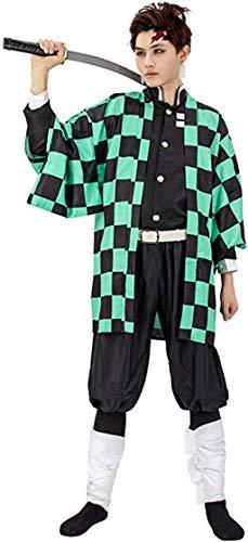 Goqun Demon Slayer Kimetsu No Yaiba Tanjiro Kamado - Disfraz de Kimono para Hombre
