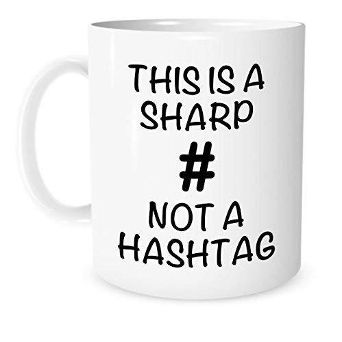 Esta es una Taza de música Sharp Not A Hashtag - Taza de té de café de cerámica Blanca de 11 onzas