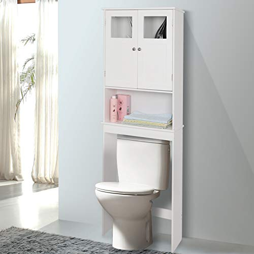 Bonnlo Over Toilet Storage, Bathroom Space Saver with Double Door Glass Window Cabinet Tower with Adjustable Shelf (White)