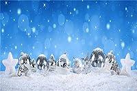 GooEoo 15 x 10フィートクリスマス新年の背景ビニール夢のような銀のクリスマスボール星雪原での贈り物飛ぶ雪青い空ボケハロウィン背景クリスマス大晦日のパーティーバナースタジオ小道具
