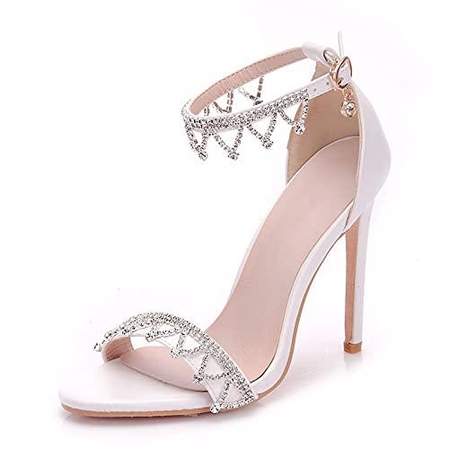 Zapatos de Boda de Novia para Mujer Punta Abierta Diamante de satén...