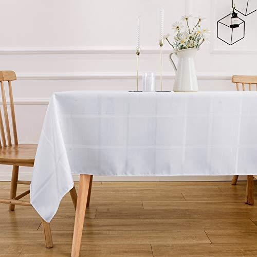 VEEYOO Mantel Rectángulo de Poliéster Mantel de Tela Escocesa de Rayas Suaves Mantel a Prueba de Derrames y Arrugas Mantel a Cuadros para Boda y Restaurante (Azul Oscuro, 132x178 cm)
