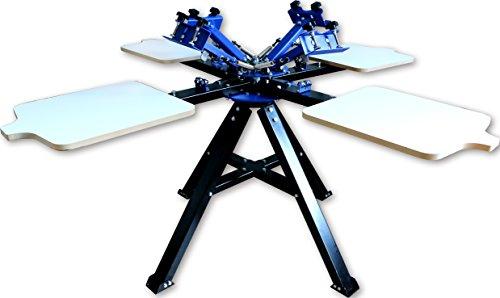 Techtongda 4 Color 4 Station Silk Screen Printing Press Machine Screen Printer Heavy Duty DIY