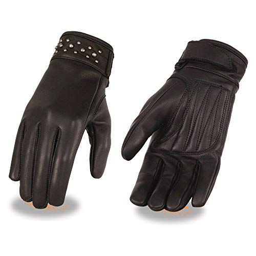 Milwaukee Leather MG7760 Ladies 'Riveted' Black Leather Gloves with Gel Palms - Small