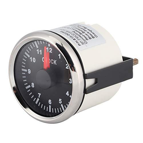 EBTOOLS Medidor de reloj de 2 pulgadas Universal 0-12 Contador de horas Reloj Panel de instrumentos Indicadores Pantalla Retroiluminación roja 12V / 24V para coche Barco Yacht Marine(Esfera negra)