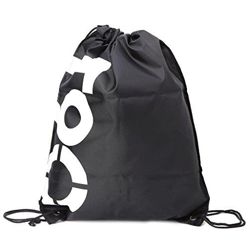 Xuniu Bolsas con cordón, Mochila Impermeable para IR de Compras, Viajes, Playa, Gimnasio, Zapatos, Paquete Deportivo, Tejido Oxford, Negro, 43x33cm/16.93x12.99