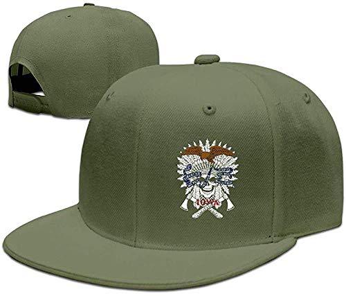 Moruolin Flag of Iowa American Indian Chief Skull Unisex Classic Adjustable Baseball Caps Visor Hat Flat Bill Cap