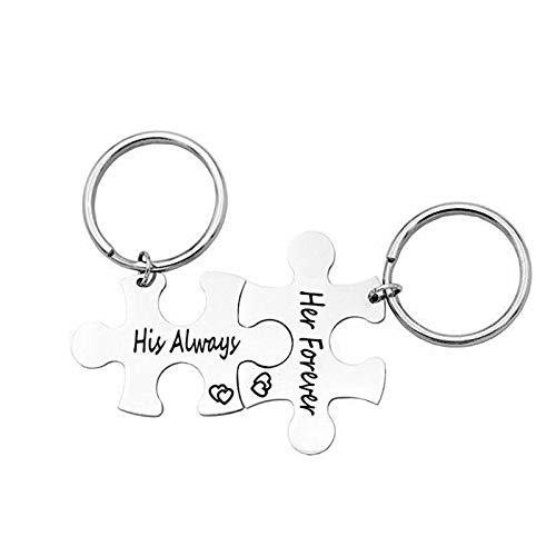 Amody 2PCS Stainless Steel Keychain Friendship Gift, His and Her Keychain for Couples Puzzle with Engraving His Always Her Forever Silver Keychains Jewelry