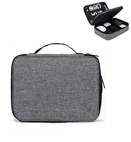 JX-PEP Travel Cable Organiser Bag, Twee lagen Draagbare Elektronica Accessoires Organizer Bag Gadget Case Tidy Opbergdoos Buidelzak voor paspoort, Kabels, Stroom, Opladers
