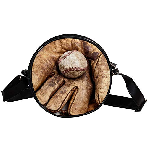 Bennigiry Vintage Baseballschläger und Handschuh auf amerikanischer Flagge, Damen, runde Umhängetasche, Handtasche
