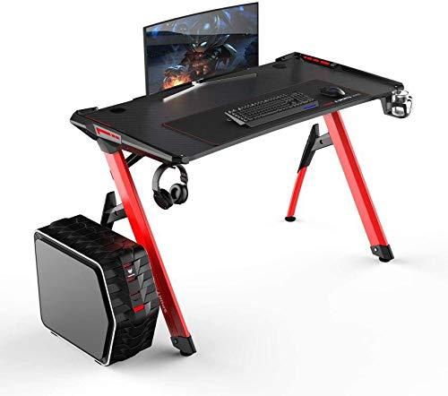 DlandHome Ergonomischer Gaming Tisch, Computertisch, Schreibtisch mit LED RGB & Kopfhörer-Hakenhalter & Mauspad,Schwarz & Rot
