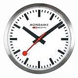 Mondaine Wall Clock - Orologio Da Parete Argento per Soggiorno e Cucina, A990.CLOCK.16SBB, 25 CM.