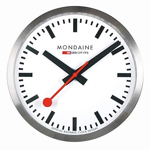 Mondaine Reloj Pared Moderno en Color Plata, A990.CLOCK.16SBB, 25 CM