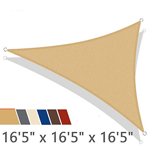 iCOVER Sun Shade Sail 16'5' x 16'5' x 16'5' Triangle Canopy, 185GSM Fabric Permeable Pergolas Top Cover, for Outdoor Patio Lawn Garden Backyard Awning, Sand