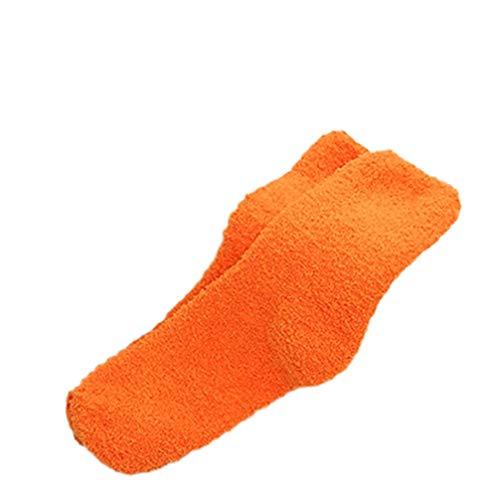 rycnet Mujeres Niña Invierno Caliente Espesar Coral Fleece Fluffy Color Sólido Dormir Cama Calcetines Nuevo Año Regalo Naranja