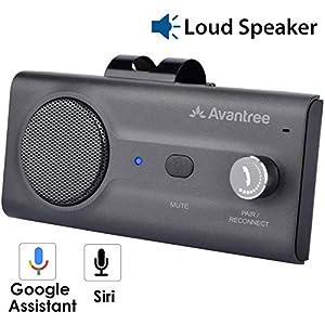 Avantree CK11 Kit Bluetooth Manos Libres Coche, Altavoz Fuerte, Conecta con Siri, Google Asistente, Movimiento Automático Activado, Botón de Volumen, Manos Libres Inalámbrico para Visera - Titanio