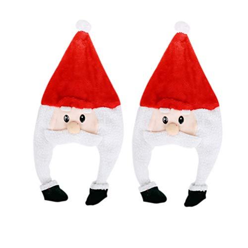 Pretyzoom 2pcs entzückende lange Plüsch Weihnachtsmütze lustige Weihnachtsmann Mütze Schneemann Hüte Kopfschmuck (1pc Schneemann, 1pc Santa)