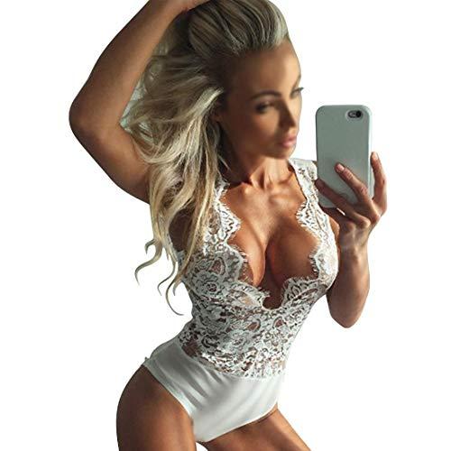 KIBILLL Vrouwen Onesies Plus Size Sexy Kant Diepe V-hals Eendelige pyjama Doorschijnende jurk M Kleur: wit