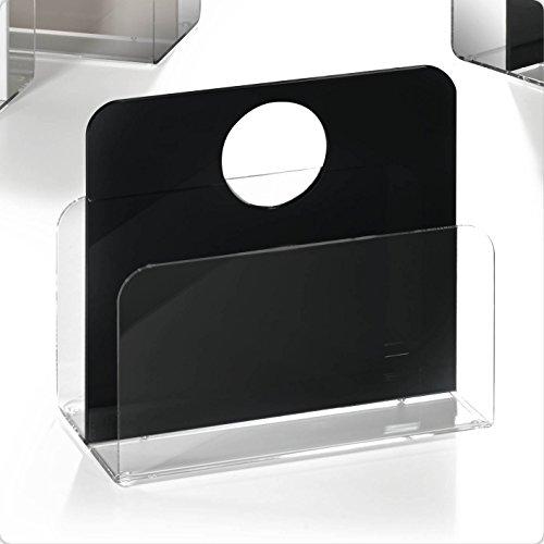 HOWE-Deko Hochwertiger Acryl-Glas Zeitungsständer, Zeitschriftenständer, klar/schwarz, 33 x 16 cm, H 43 cm, Acryl-Glas-Stärke 5/8 mm