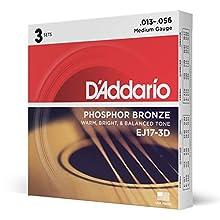 Juego de cuerdas para guitarra acústica Hechas de material de bronce de fósforo Producen un tono acústico cálido, brillante y buen equilibrado Tamaño: .013-.056