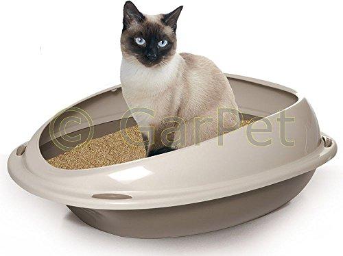 XXL Katzentoilette Katzenklo Katzen Toilette WC mit Rand Jumbo Schalentoilette