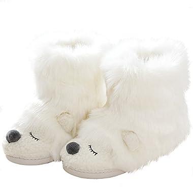 Warm Fleece Sheep Bootie | Funny Stuffed Animal Slippers | Women Indoor Outdoor Home Slippers | Anti-Slip Memory Foam Sole (9-10.5 B(M) US, White Bear)