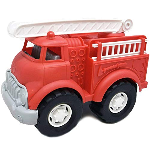 Big Plastic Toy Fire Truck for Toddlers Boys and Girls | Red Fireman Engine Vehicle with Rescue Ladders for Indoor and Outdoor Imaginative Play (Red)