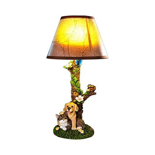 Unbekannt Stehlampe Tierfreunde, Tischlampe Nachttischlampe Tischleuchte im Baum-Design mit Hund & Katze, Kunststein, 19 x 19 x 36 cm