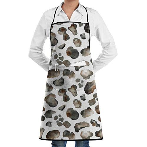 Delantal de chef con estampado de leopardo, sin costuras, para mujeres, hombres, delantal de cocina, divertido delantal de barbacoa, delantal ajustable con bolsillos