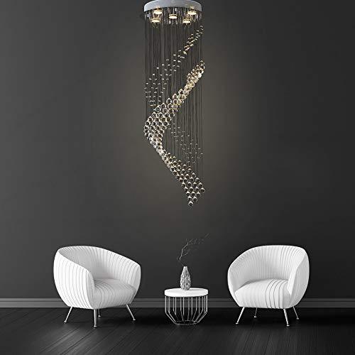 LightInTheBox - Lámpara de techo colgante en espiral de cristal transparente con montaje empotrado y luz blanca cálida de 40 cm de diámetro y 120 cm de alto