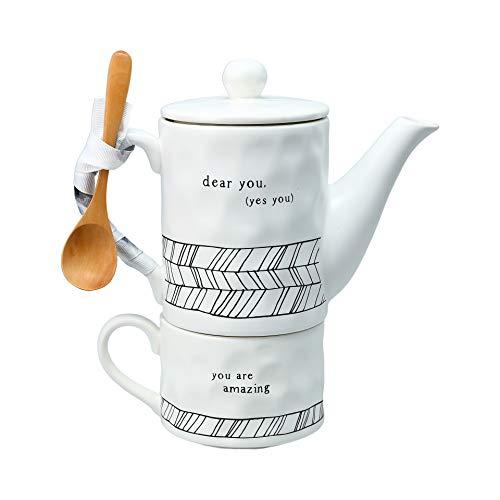 Pavilion Gift Company Dear You Tea For One, Teapot: 15 oz Mug: 8 oz, White