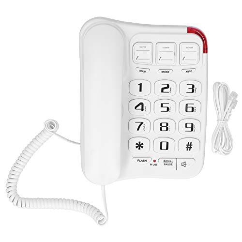 Teléfono de escritorio con cable, teléfono fijo con cable con volumen de timbre ajustable, botón grande, manos libres, almacenamiento de llamada, teléfono de pared para oficina en casa(blanco)