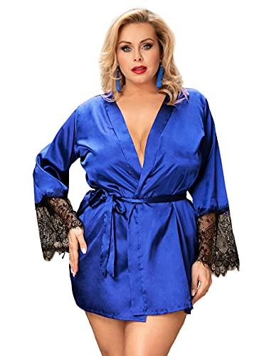 ohyeahlady Kimono Mujer Bata Satén Sedoso con Encaje Suave, Ropa de Dormir Seda Bata para Invierno, Batas de Novia Dama de Honor (C-Azul, 3XL-4XL, 3x_l)