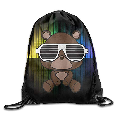 Hicyyu Unisex Kanye West Bear Yeezy Drawstring Bag Drawstring Backpack Sport Bag Gym Bag 100% Polyester Material Travel Bag for Men Women