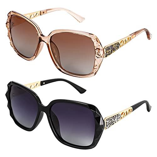 Phoetya Women Square Sunglasses, 2pcs UV 400 Protection Oversized Polarized...