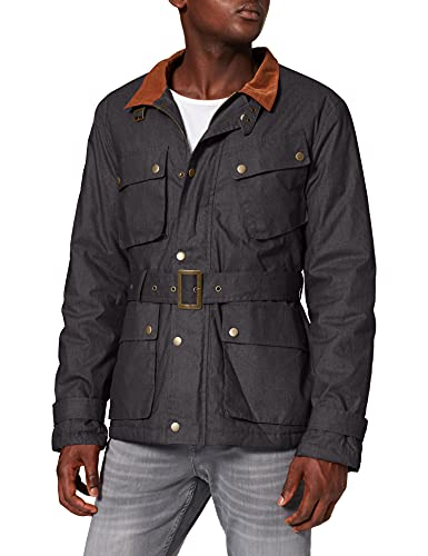 Marca Amazon - find. Wax Coated Belted Chaqueta Hombre, Negro (Black), XL, Label: XL
