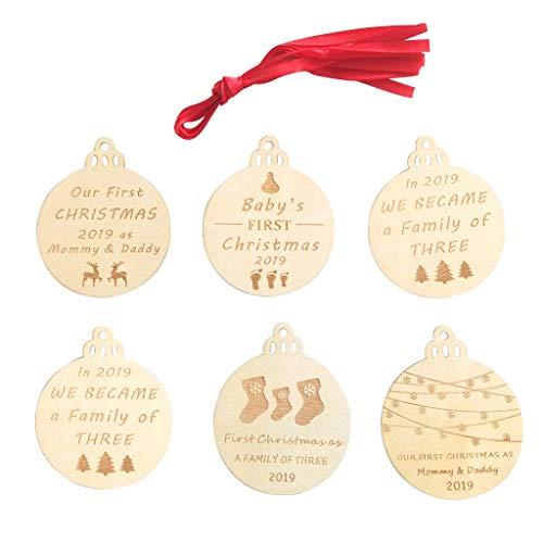 UKtrade 6 piezas de Navidad colgante de madera decoraciones de la puerta del árbol de Navidad adornos de fiesta (B)