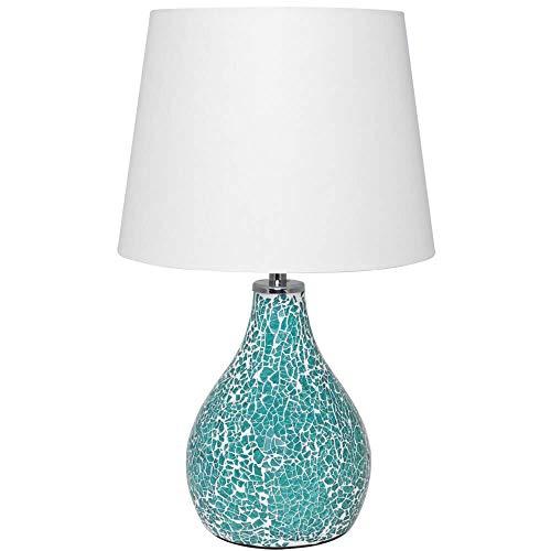 Design Tischleuchte Textilschirm Keramikfuß, Mosaik, weiße Fugen, Glassplitter 1 x E14/40W (türkis)