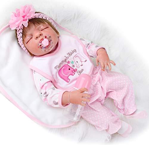 ZIYIUI Babypuppen 23 Zoll 57 cm Lebensechte Reborn Babypuppe Weiche Vinyl Silikon Reborn Babys Mädchen Simulation Schlafendes Baby Mädchen Junge Spielzeug Geschenk