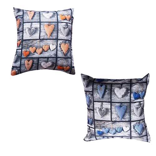 MONTANCHEZZ Confezione da 2 federe per cuscino, 45 x 45 cm, 45 x 45 cm, stampa digitale, texture setosa, stile moderno, Throw Pillow Case federa (cuori)