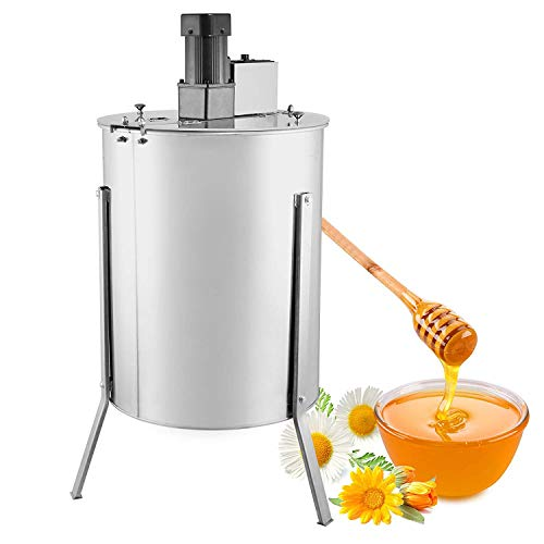 Happybuy Electric Honey Extractor Stainless Steel Honeycomb Drum Spinner Beekeeping Equipment with Strainer, 4 Frame