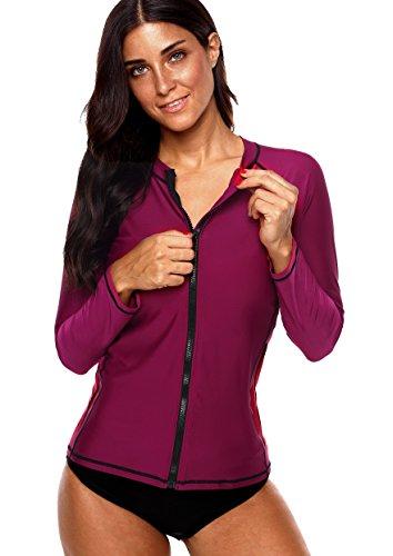 Charmo Damen Rash Guard UV-Schutz (UPF 50+) mit Reißverschluss Rash Vest Sonnen Schutz Solid Violett L