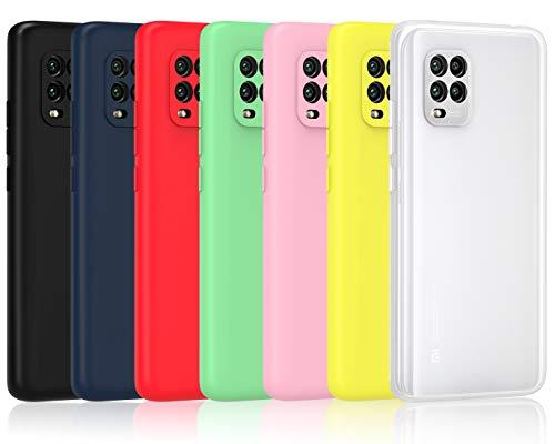iVoler 7 Pezzi Cover per Xiaomi Mi 10 Lite 5G, Ultra Sottile Silicone Custodia Morbido TPU Case Protettivo Gel Cover (Nero, Blu, Verde, Rosa, Rosso, Giallo, Bianco)