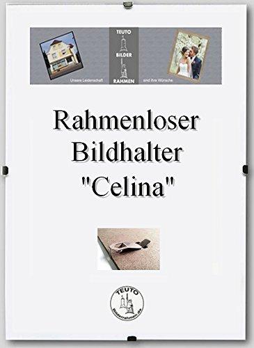 Teuto-Bilderrahmen Rahmenloser Bildhalter Celina für Grossformate 69 x 102 cm dezent schlicht 102x69 cm Grosse groessen mit Kunststoffglas klar 2mm