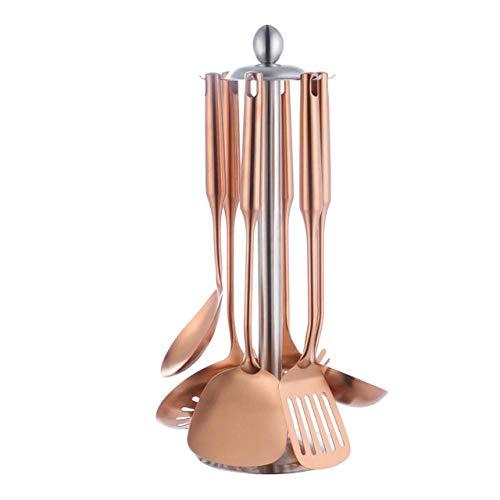 WHDS 7PCS / Set Utensili da Cucina Arcobaleno in Acciaio Inossidabile con Supporto Strumenti di Cottura Set Cucchiaio mestolo per Utensili da Cucina Ristorante Oro Rosa
