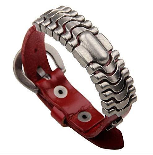 CHENTAOCS 4 Kleuren leren armband voor mannen met roestvrij stalen manchet weefgetouw merken Riem Gesp Groothandel Mannen Sieraden