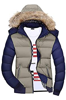 Mr.Stream Men s Classic Contrast Fashion Winter Hooded Jacket Casual Windproof Coat Warm Outdoor Parka US M=Tag Asia 4XL Khaki Blue