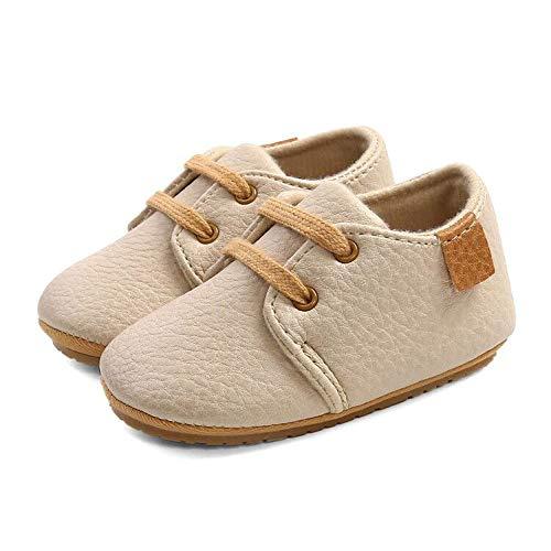 LACOIFA Baby Jungen Mädchen Sneakers Oxford Schnürschuhe Baby rutschfeste Erste Laufschuhe Beige 3-6 Monate